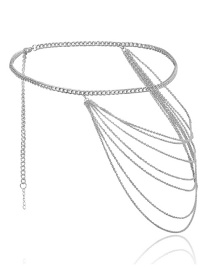 Fashion White K Geometric U-shaped Multi-layer Tassel Chain Waist Chain