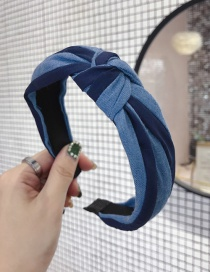 Fashion Navy Denim Fabric Contrast Stripes In The Middle Knotted Thin Side Headband