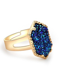 Fashion Gold + Green Color Crystal Cluster Diamond Ring