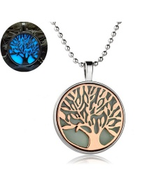 Fashion Ancient Red Copper + Sky Blue Life Tree Luminous Necklace