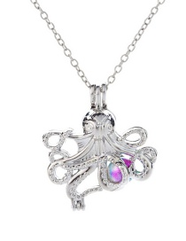 Fashion Octopus Colorful Beads Openwork To Open Cage Necklace