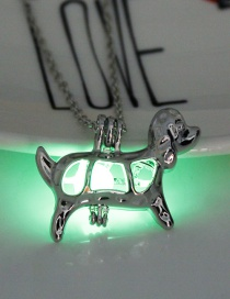 Fashion Yellow Green Luminous Beads Open The Puppy Necklace