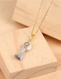 Fashion Blue Pearl Necklace Blue Eyes Stainless Steel Clavicle Chain