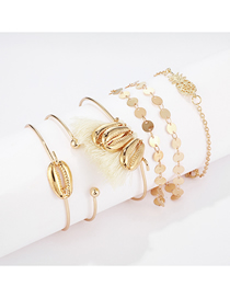 Fashion Gold Alloy Round Pineapple Shell Tassel 6 Piece Bracelet