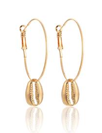 Fashion Gold Geometric Alloy Round Shell Pendant Earrings