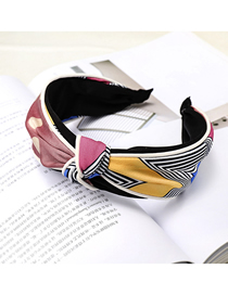 Fashion Korean Powder Wave Point + Check Color Matching Headband Plaid Color Matching Headband