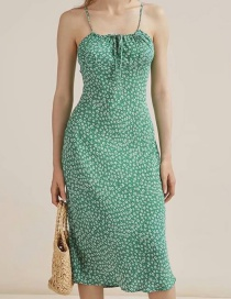 Fashion Green Printed Strap Dress