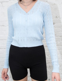 Fashion Light Blue Knitted Top