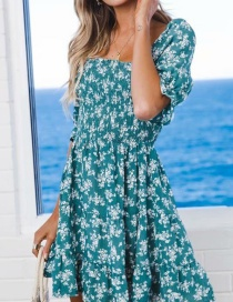 Fashion Lake Green Printed Dress