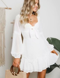 Fashion White Ruffled Tether Dress