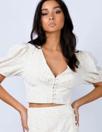 Fashion White Printed V-neck Top Skirt Suit