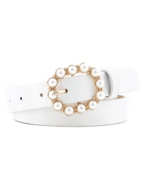 Fashion White Leather Pearl Belt