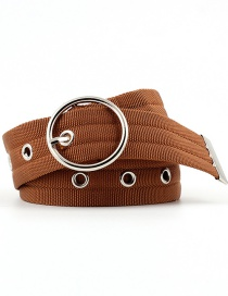 Fashion Camel 12 Tail Holes Openwork Round Buckle Corn Belt With Nylon Belt