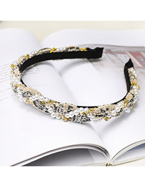 Fashion Beige Pearl Winding Headband Pearl Rhinestone Thin Headband