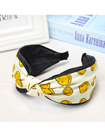 Fashion Yellow Smiley Middle Knot Headband Printed Chiffon Fabric Headband