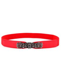 Fashion Red Rose Imitation Leather Counterpart Elastic Small Waist Seal