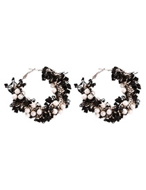 Fashion Black Alloy Cloth Pearl Earrings