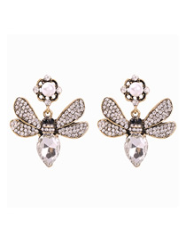 Fashion White Alloy Studded Bee Stud Earrings