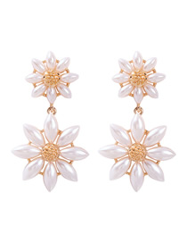 Fashion Long Section Alloy Pearl Flower Earrings