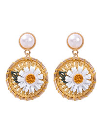Fashion Gold Alloy Pearl Rope Braided Flower Earrings