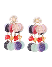 Fashion Color Alloy Resin Color Sequin Earrings