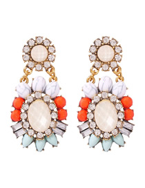 Fashion Color Alloy Studded Resin Oval Stud Earrings