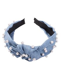 Fashion Light Blue Denim Pearl Knotted Headband