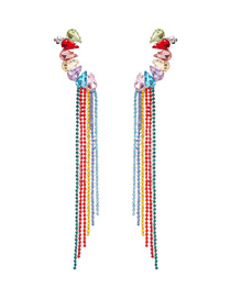 Fashion Color Alloy Diamond Colored Tassel Earrings