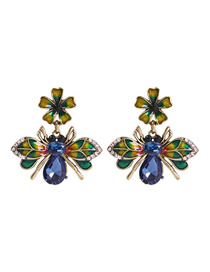 Fashion Color Alloy Diamond Drip Oil Bee Stud Earrings