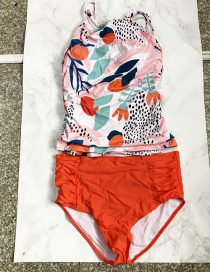 Fashion Color Printed Split High Waist Swimsuit