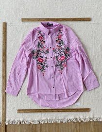 Fashion Pink Embroidered Striped Shirt