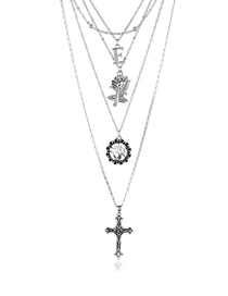 Fashion Silver Cross Flower Tree Multi-layer Necklace