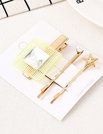 Fashion White Square Starfish Hairpin Set