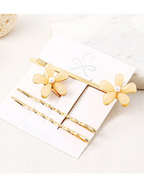 Fashion Light Yellow Flower Hair Clip Set