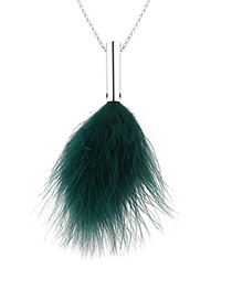 Fashion Green Plated Gold Feather Chain