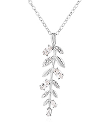 Fashion Silver Austrian Crystal Chain - Vanilla Leaves (platinum)