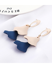 Dark Blue + Light Pink Lotus Leaf Earrings
