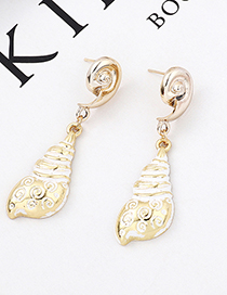 White Spiral Conch Earrings