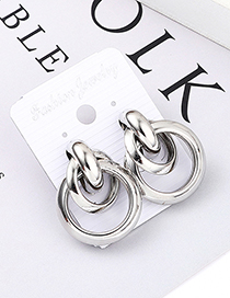 Fashion White K Size Circle Cross Earrings