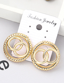 Fashion Kc Gold Three-ring Hollow Earrings