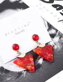 Fashion Red Alloy Acrylic Inverted Triangle Earrings