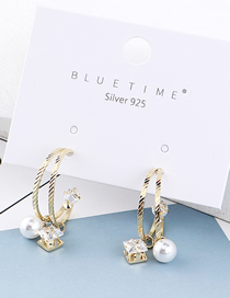Fashion Gold Gold Plated Square Zirconium Pearl S925 Silver Needle Stud Earrings