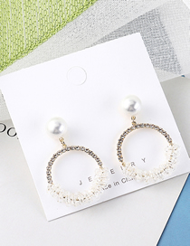 Fashion 14k Gold Plated Gold Circle Pearl S925 Silver Needle Stud Earrings
