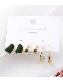 Fashion Green Plated Gold S925 Silver Needle Stud Earrings