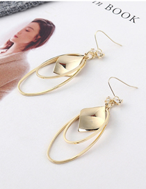 Fashion 14k Gold Genuine Gold-plated Geometric Double-ring Zircon Earrings
