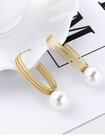 Fashion Gold Openwork Pearl S925 Silver Needle Earrings