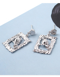 Fashion Platinum Plated Gold Bird Photo Frame S925 Silver Needle Earrings