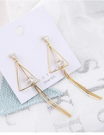 Fashion Gold Plated Gold Triangle Fringed S925 Silver Needle Earrings