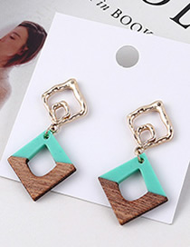 Fashion Blue Square Openwork Earrings