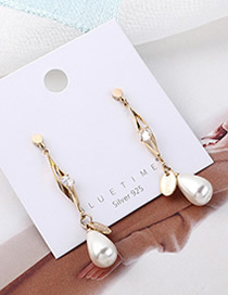 Fashion 14k Gold Plated Gold Pearl S925 Silver Needle Earrings